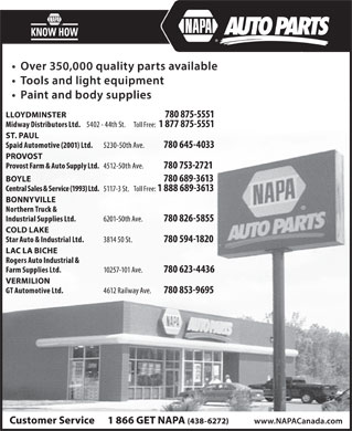 NAPA Auto Parts (780-594-1820) - Display Ad
