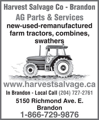 Harvest Salvage Co Ltd (1-866-729-9876) - Annonce illustrée