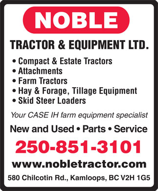 Noble Tractor & Equipment Ltd (250-851-3101) - Display Ad