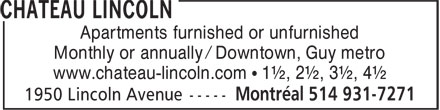 Château Lincoln (514-931-7271) - Display Ad