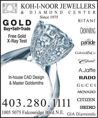 Koh-i-noor Jewellers & Diamond Ctr (403-280-1111) - Display Ad
