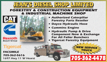 Jean's Diesel Shop Ltd (705-362-4478) - Display Ad