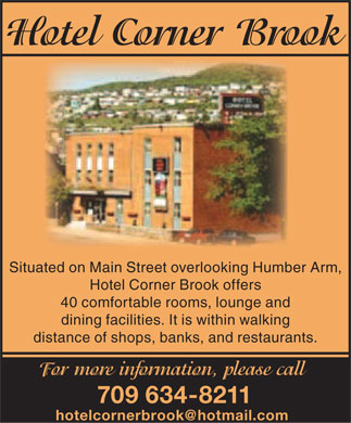 Hotel Corner Brook (709-634-8211) - Display Ad