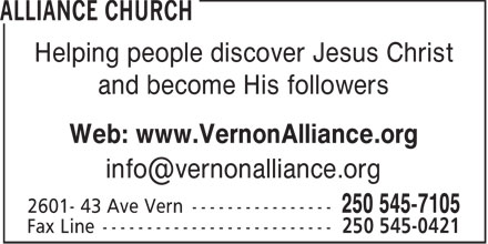 Alliance Church (250-545-7105) - Display Ad