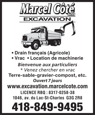 Excavation Marcel Côté & Fils Inc (418-849-9495) - Display Ad