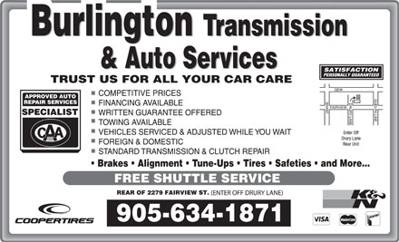 Burlington Transmission & Auto Services (905-634-1871) - Annonce illustrée - Brakes   Alignment   Tune-Ups   Tires   Safeties   and More...