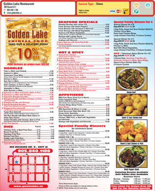 Golden Lake Chinese Food Restaurant (905-840-1188) - Menu