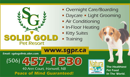 Solid Gold Pet Resort (506-457-1530) - Annonce illustrée