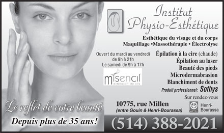 Institut Physio-Esth&eacute;tique (514-388-2021) - Display Ad
