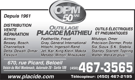 Outillage Placide Mathieu (450-467-3565) - Display Ad