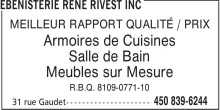 B nisterie ren rivest inc 450 839 6244 display ad - Meilleur rapport qualite prix cuisine equipee ...