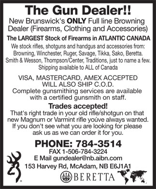 The Gun Dealer (506-784-3514) - Display Ad