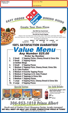 Domino's Pizza (306-953-1010) - Menu