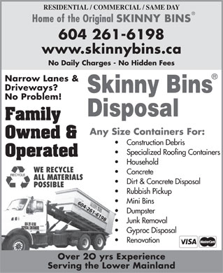 Skinny Bins Disposal (604-261-6198) - Annonce illustr&eacute;e