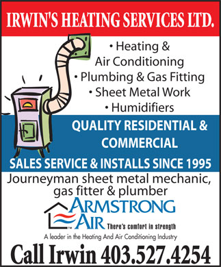Irwin's Heating Service (403-580-8400) - Display Ad