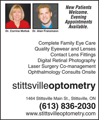 Stittsville Optometry (613-836-2030) - Annonce illustr&eacute;e