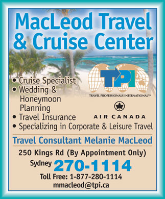 MacLeod Travel Cruise Center (902-270-1114) - Annonce illustrée