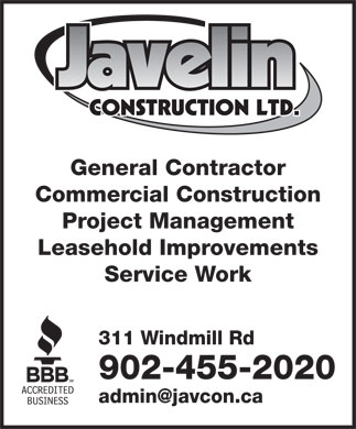 Javelin Construction (902-455-2020) - Annonce illustrée - General Contractor Commercial Construction Project Management Leasehold Improvements Service Work 311 Windmill Rd 902-455-2020