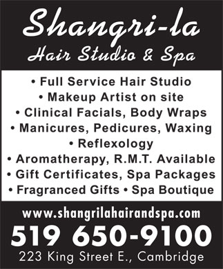Shangri-la Hair Studio and Spa (519-650-9100) - Annonce illustrée