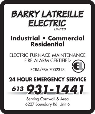 Barry Latreille Electric limited (613-931-1441) - Display Ad