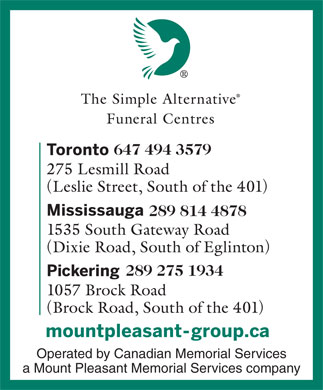 Simple Alternative Funeral Centres The (647-494-3521) - Display Ad - 647 494 3579 289 814 4878 289 275 1934 Operated by Canadian Memorial Services a Mount Pleasant Memorial Services company