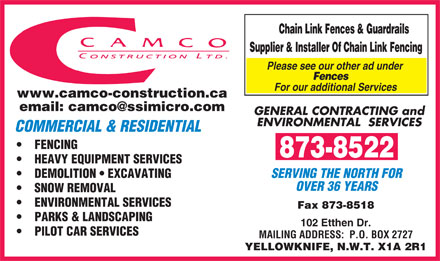 Camco Construction Ltd (867-873-8522) - Annonce illustrée