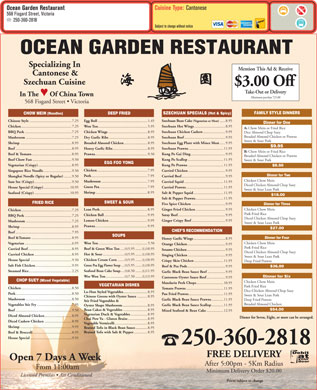 Ocean Garden Restaurant (250-360-2818) - Menu