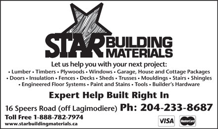 Star Building Materials (204-233-8687) - Annonce illustrée