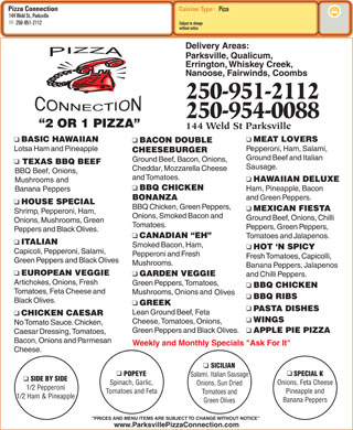 Pizza Connection (250-951-2112) - Menu