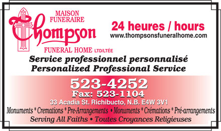 Thompson Funeral Home Ltd (506-523-4252) - Display Ad