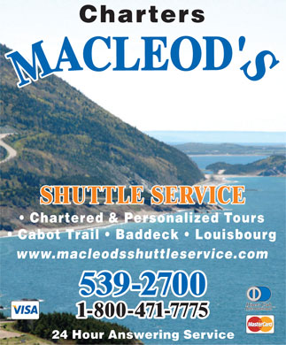 MacLeod's Shuttle Service (1-866-262-9723) - Display Ad