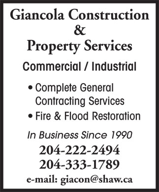 Giancola Construction &amp; Property Management (204-222-2494) - Annonce illustr&eacute;e