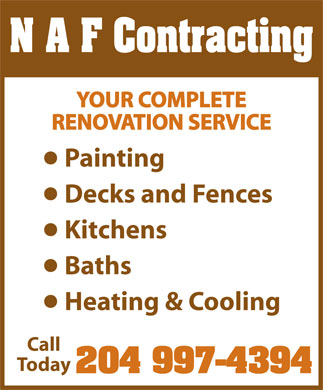 N A F Contracting (204-997-4394) - Display Ad