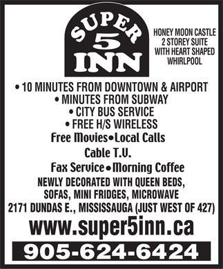 Super 5 Inn (289-805-4390) - Display Ad