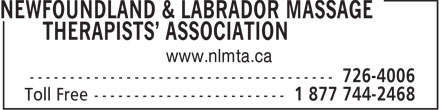 Newfoundland & Labrador Massage Therapists' Asso ciation (1-877-442-2468) - Annonce illustrée