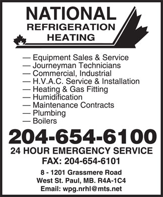 National Refrigeration Heating Ltd (204-654-6100) - Display Ad