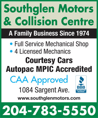 Southglen Motors &amp; Collision Centre (204-783-5550) - Annonce illustr&eacute;e