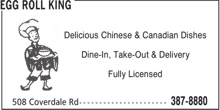 Egg Roll King (506-387-8880) - Annonce illustrée======= - Delicious Chinese & Canadian Dishes Dine-In, Take-Out & Delivery Fully Licensed