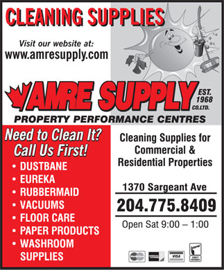 Amre Supply Co Ltd (204-775-8409) - Annonce illustr&eacute;e
