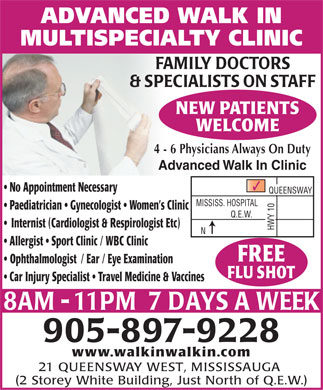 Advanced Walk-In Multi Specialty Clinic (905-897-9228) - Display Ad