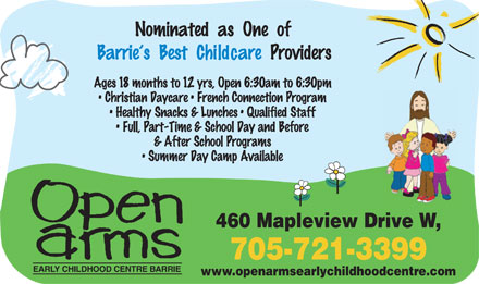 Open Arms Early Childhood Centre (705-721-3399) - Display Ad