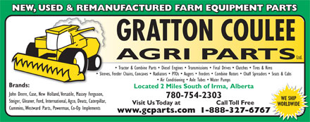 Gratton Coulee Agri Parts Ltd (780-754-2303) - Annonce illustrée
