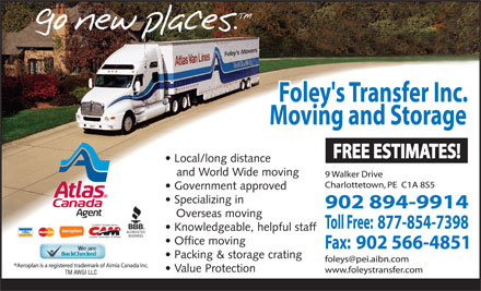 Foley's Transfer Inc (902-894-9914) - Annonce illustrée