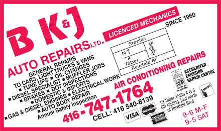 B K & J Auto Repairs Limited (416-747-1764) - Display Ad