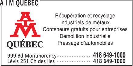 A I M Qu&eacute;bec (418-649-1000) - Annonce illustr&eacute;e - R&eacute;cup&eacute;ration et recyclage industriels de m&eacute;taux Conteneurs gratuits pour entreprises D&eacute;molition industrielle Pressage d'automobiles  R&eacute;cup&eacute;ration et recyclage industriels de m&eacute;taux Conteneurs gratuits pour entreprises D&eacute;molition industrielle Pressage d'automobiles  R&eacute;cup&eacute;ration et recyclage industriels de m&eacute;taux Conteneurs gratuits pour entreprises D&eacute;molition industrielle Pressage d'automobiles  R&eacute;cup&eacute;ration et recyclage industriels de m&eacute;taux Conteneurs gratuits pour entreprises D&eacute;molition industrielle Pressage d'automobiles  R&eacute;cup&eacute;ration et recyclage industriels de m&eacute;taux Conteneurs gratuits pour entreprises D&eacute;molition industrielle Pressage d'automobiles  R&eacute;cup&eacute;ration et recyclage industriels de m&eacute;taux Conteneurs gratuits pour entreprises D&eacute;molition industrielle Pressage d'automobiles  R&eacute;cup&eacute;ration et recyclage industriels de m&eacute;taux Conteneurs gratuits pour entreprises D&eacute;molition industrielle Pressage d'automobiles  R&eacute;cup&eacute;ration et recyclage industriels de m&eacute;taux Conteneurs gratuits pour entreprises D&eacute;molition industrielle Pressage d'automobiles  R&eacute;cup&eacute;ration et recyclage industriels de m&eacute;taux Conteneurs gratuits pour entreprises D&eacute;molition industrielle Pressage d'automobiles  R&eacute;cup&eacute;ration et recyclage industriels de m&eacute;taux Conteneurs gratuits pour entreprises D&eacute;molition industrielle Pressage d'automobiles