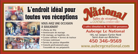 Auberge National Enr (L') (450-390-9840) - Display Ad