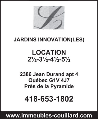 Jardins Innovation (Les) (418-653-1802) - Annonce illustr&eacute;e