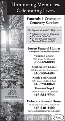 Jerrett Funeral Homes (416-223-6050) - Annonce illustr&eacute;e