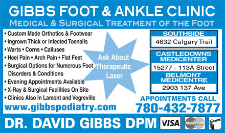 Gibbs Foot & Ankle Clinics (780-432-7877) - Display Ad