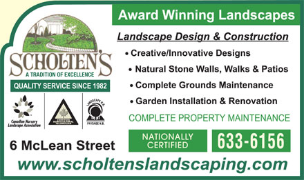 Scholten's Landscape Ltd (506-633-6156) - Annonce illustrée - A TRADITION OF EXCELLENCE